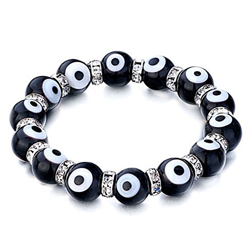 CandyCharms Evil Eye Bracelet Black Murano glass beads 10mm Stretch Crystal For Women