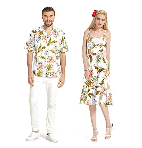 Made In Hawaii Premium Couple Matching Luau Aloha Shirt Dress Floral White With Pink Floral 2XL-M by Hawaii Hangover