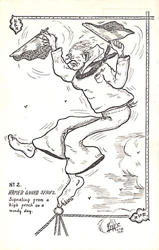 Military Comic Postcard, Old Vintage Antique Post Card Armed Guard Series, Ayers USN 1918 Unused