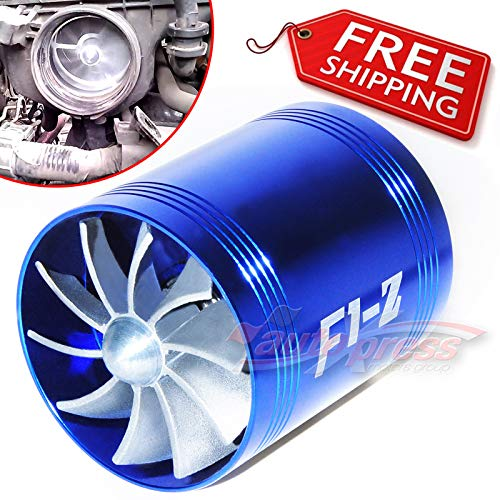FidgetGear for AIR INTAKE DUAL FAN BLUE Turbo Supercharger Turbonator Gas Fuel Saver fits MAZDA: