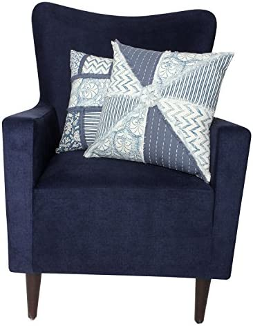ThymeHome Veda Hand Block Printed Accent Pillow – 100 Cotton Decorative Accent Pillows 18x 18 inch Indigo Set of 2