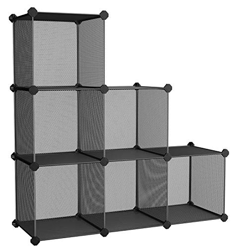 (SONGMICS 6-Cube Metal Mesh Storage Cube, Storage Shelves Organizer, Modular Bookcase, DIY Closet Cabinet Shelf for Books, Plant, Toys, Shoes, Clothes, 36.6 L x 12.2 W x 36.6 H Inches, Black ULPL111H)