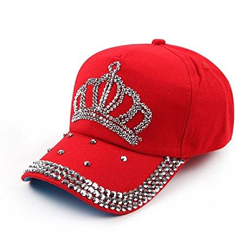 Women Ladies Bling Rhinestone Studded Crown Visor Baseball Cap Hats Red