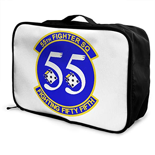55th Fighter - 55th Fighter Squadron Unisex Travel Duffel Bag Waterproof Fashion Lightweight Large Capacity Portable Luggage Bag