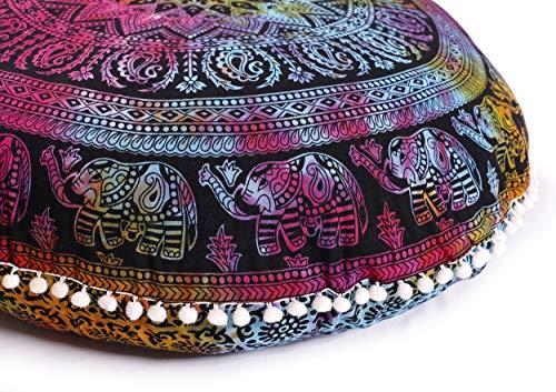Popular Handicrafts Large Hippie Elephant Mandala Pillow Cover - Cushion Cover - Pouf Cover Round Bohemian Yoga Decor Floor Cushion Case- 32 Tie Dye