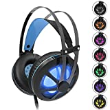 Cheap Gintenco Gaming Headset for Xbox One PS4 Noise Cancelling Ear Headphone with Volume Control Hidden Mic Color Change LED Lights for PC Laptop Mac Computer Nintendo Switch Game