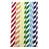 20 Pcs Disposable Drink Paper Straws,Coffee Shop Library Tea Shop Supplies Theme Drinking Rainbow Straws (Multicolor)