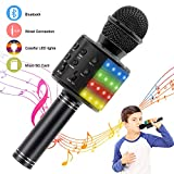 Verkstar Wireless Bluetooth 4 in 1 Karaoke Microphone, Portable Handheld Karaoke Machine Speaker Birthday Home Party Player with Record Function for Android & iOS All Devices (Black)