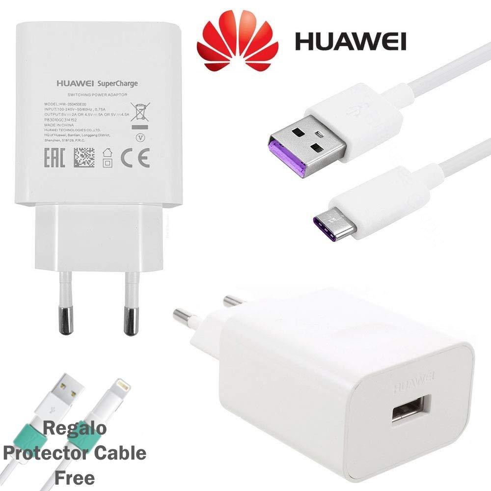 TPC - Cargador Original Huawei AP81 Carga Rapida Super Charge (5A) USB-C para P10, P20, P30, Mate 10, Mate 20, Bulk + Regalo