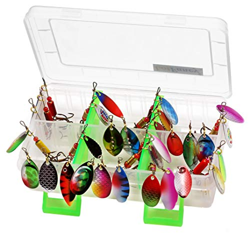 (LotFancy 30PCS Fishing Lures Spinnerbait for Bass Trout Walleye Salmon Assorted Metal Hard Lures Inline Spinner Baits (Assorted))