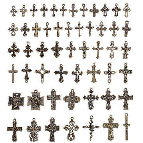 Mixed Antique Bronze Crosses Charms and Pendants 50 pcs