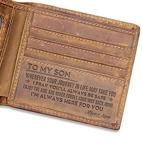 Leathrr to My Son Wallet from Mom, Im Always here for You - Men Wallet from mom