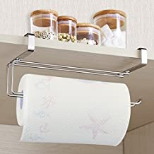 Upgraded Version Paper Towel Holder, Aiduy Kitchen Paper Hanger Rack Bathroom Towel Roll Stand Organizer for Under Cabinet and Over the Door, Stainless Steel