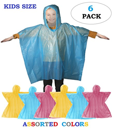 Price comparison product image Rain Poncho - Disposable Kids Emergency Raincoat with Hoodie | School Recreation Hooded Rain Gear for Girls and Boys | Outdoor weather protection Combo Pack for Children Pack of 6 (Assorted)