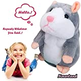 Image of Talking Pet Hamster Electronic Animal Plush Toy - Mimics and Repeats After Words & Sounds - Special Gift for Kids Ages 4 - 100, Boys and Girls, Birthdays, Christmas by Neverland(Grey)