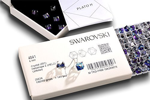 Swarovski Element Earrings Cube Earrings Color Changing Crystals Heart Of Ocean Blue Drop Dangle Earrings, Birthday Birthstone Jewelry Gifts for Women by PLATO H (Image #4)