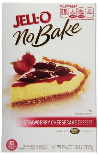 JELL-O No Bake Cheesecake Dessert, Strawberry, 19.6 Ounce (Pack of 10)