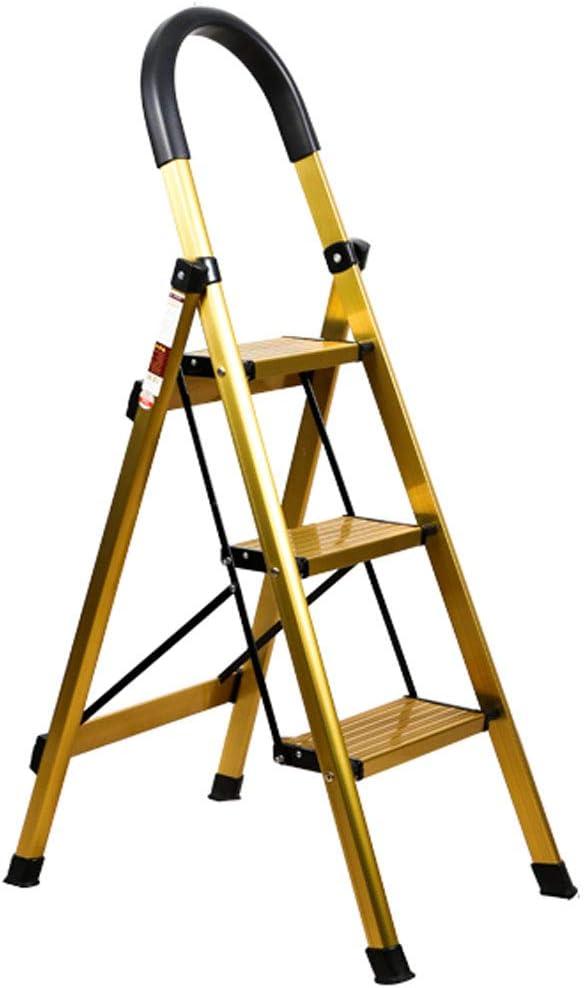 SONGTING Step stool Escalera de 3 peldaños Estante de Madera Plegable de Aluminio Ligero con Pedal Antideslizante y Ancho para Ahorrar Espacio en el hogar y la Cocina: Amazon.es: Hogar
