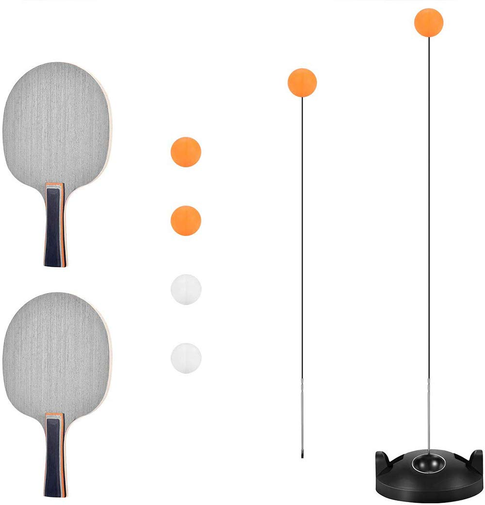 Table Tennis Trainer, Ping Pong Ball Training with Elastic Soft Shaft,2 Racket & 4 Practice Ball for Self-Training/Leisure/Decompression/Kid Indoor Outdoor Play by Table Tennis Trainer