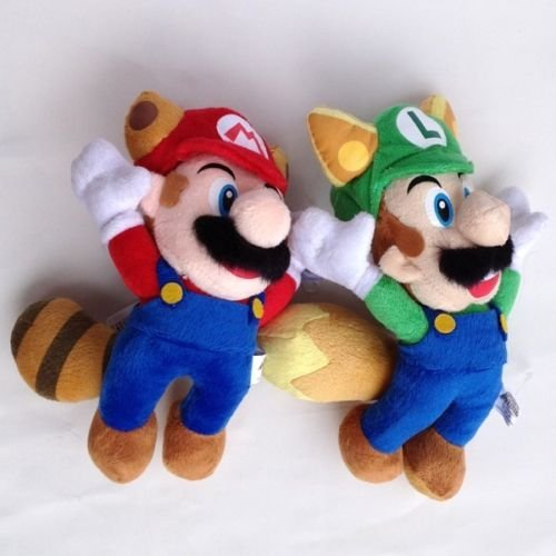 Super Mario Plush 7.9 Inch / 20cm Kitsune Fox Luigi Raccoon Mario 2pcs Doll Stuffed Animals Figure Soft Anime Collection Toy ()