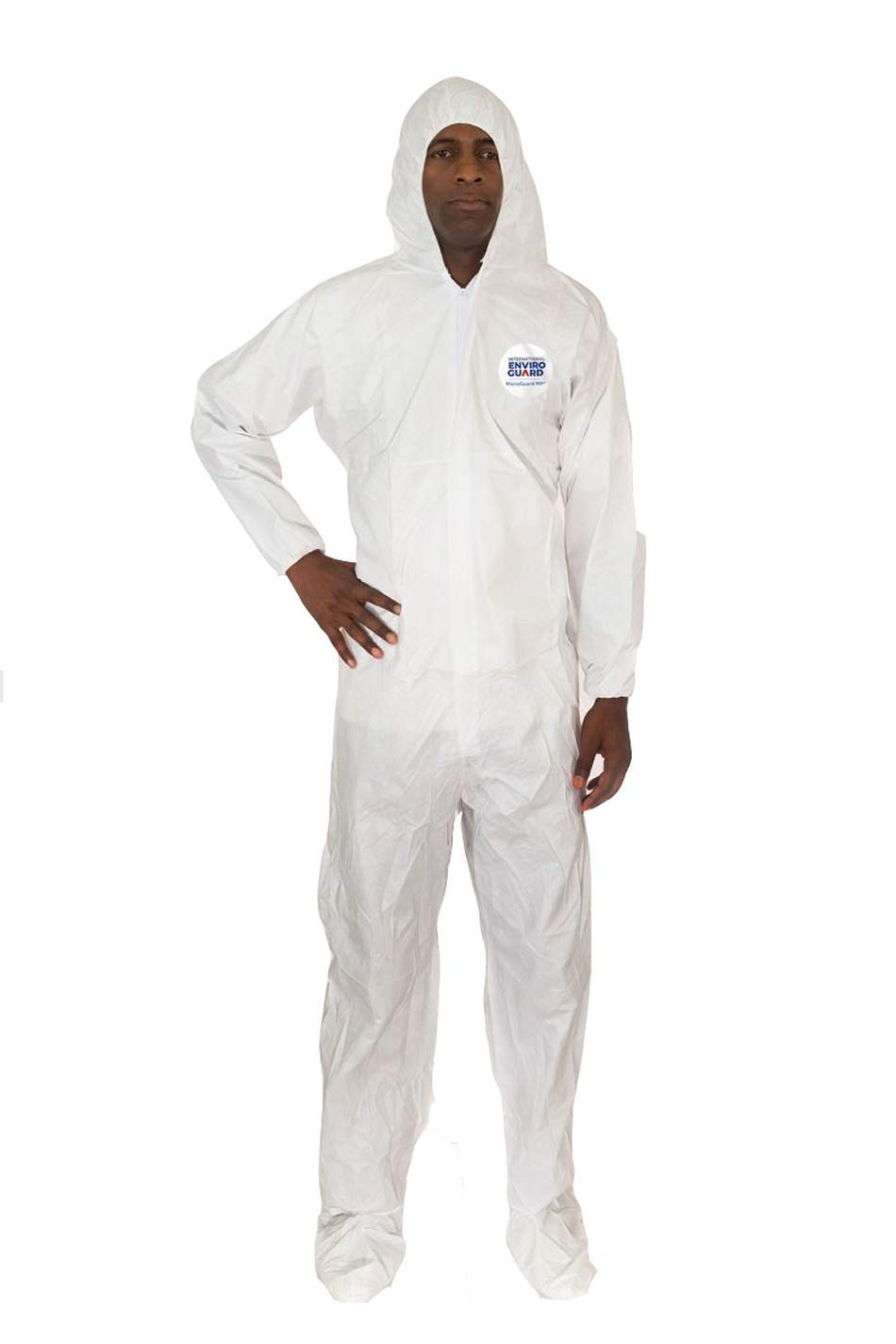 Microguard MP Microporous (White) | Particulate & Splash Protection/Disposable Hazmat Suit with Elastic Sleeves for Paint and Particulates (Case of 25) (5XL, Elastic Wrist, Hood & Boots)