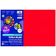 Pacon Tru-Ray Construction Paper, 12-Inches by 18-Inches, 50-Count, Festive Red (103432)