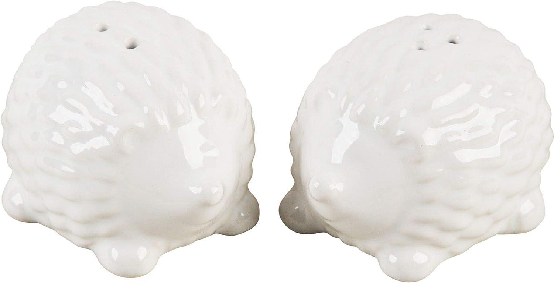 White Hedgehog Shaped Ceramic Salt & Pepper Shakers - Set-/2