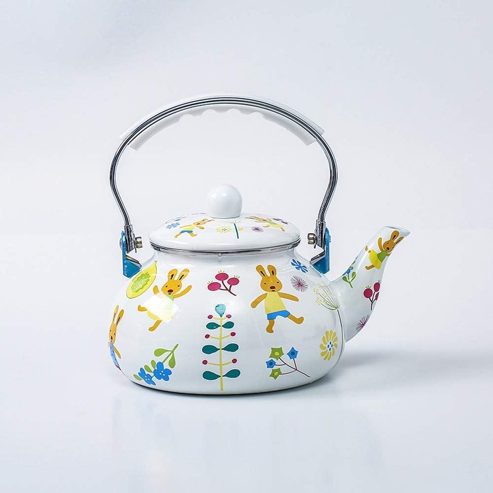 Sucastle Esmalte Tetera silba 2.4L Esmalte Pot Pot Caldera de Gas Cocina de inducción Universal Anti-Caliente de la manija for Acampar Accesorios de Cocina Cocina de quemadores