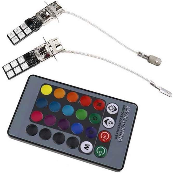 Coco H3 5050 12SMD RGB Car Auto-phares antibrouillard Ampoule Lampe 360 Degr/és avec /éclairage DC 12V T/él/écommande