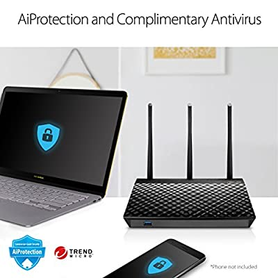 ASUS Dual-Band 3x3 AC1750 WiFi 4-Port Gigabit Router with speeds up to 1750Mbps & AiRadar to Strengthens Wireless Connections via High-Powered Amplification Beam-Forming - 2X USB 2.0 Ports