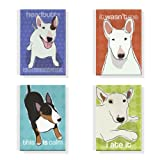 Pop Doggie Bull Terrier Refrigerator Magnets with Funny Sayings (Set of 4)