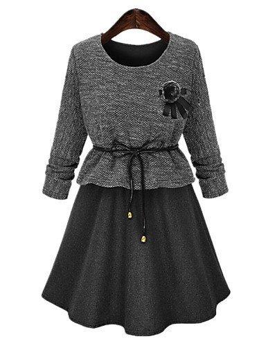 GSP-Damen Kleid - Übergrößen Übergröße / Leger Solide / Patchwork Übers Knie Baumwolle / Polyester Rundhalsausschnitt