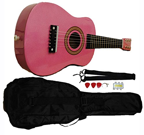 Mini Kids Acoustic Toy Guitar Kit Gig Bag + Picks + Strap + Tuner - Glitter Pink