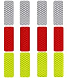 3M Reflective Diamond Grade DG3 Hi-Vis Waterproof Stickers Multi-Color Pack - 12 pcs 1.18in x 3.25in (3cm x 8cm)