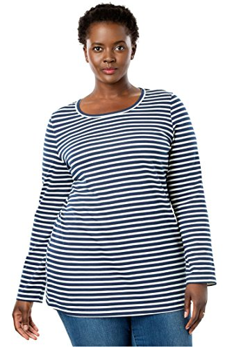 Woman Within Plus Size Perfect Printed Long Sleeve Crewneck Tee - Navy Off White Stripe, 2X