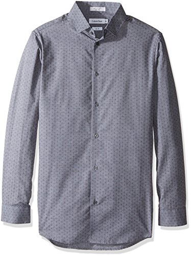 Calvin Klein Boys' Long Sleeve Diamond Dobby Shirt, Medium Grey, 10