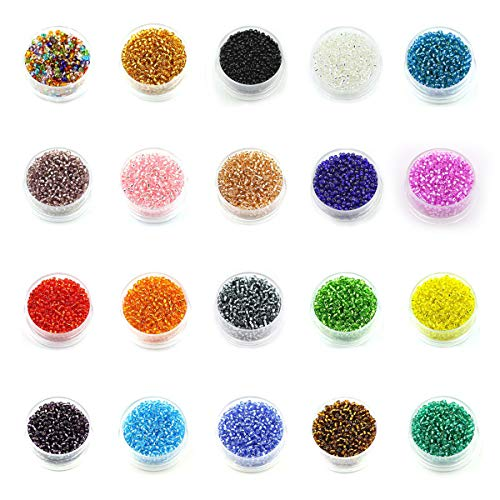 Multicolor Beading Glass Seed Beads- 2mm Round Beads ( 20 colors Approx 20000pcs) Mini Beads for DIY Bracelets,Necklaces,Earrings, Key Chains and Kid Jewelry Making  -