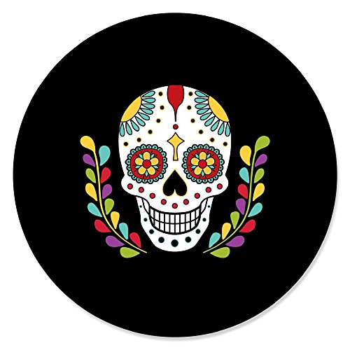 Day of The Dead - Halloween Sugar Skull Party Circle Sticker Labels - 24 Count]()