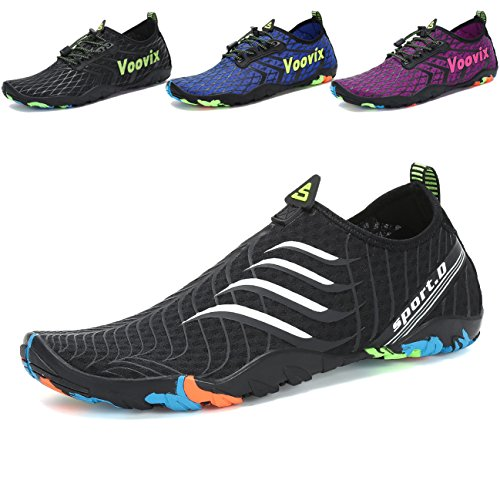 Voovix Water Shoes Mens Womens Barefoot Aqua Shoes Quick Dry Slip on Water Sports Shoes for Beach Swim Yoga Pool Diving Surfing Boating Sailing(Black/W,41)