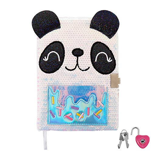 Diary with Lock for Girls, Panda Journal , Magic Travel Journal Notebook for Adults and Kids , a Heart Shaped Lock and 2 Keys