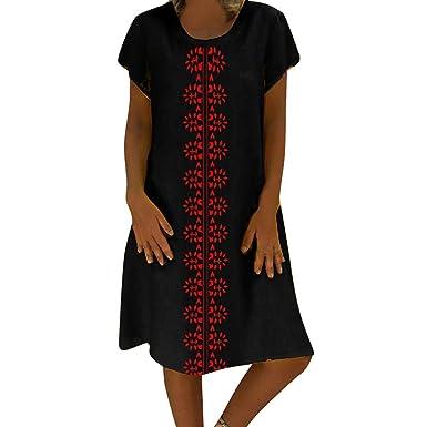 1e40b637f24 Sale Summer Linen Dresses, Bestoppen Women Casual Feminino Vestido T-Shirt  Short Sleeve Lose Fit Beach Dress Cotton Plus Size Ladies Dress: Amazon.co. uk: ...