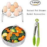 Steamer Basket Set for Instant Pot Accessories, Stainless Steel Strainer Basket Egg Steamer Rack Vegetable Steamer Pot with Silicone Kitchen Tongs for Instant Pot and Pressure Cooker