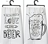 Primitives by Kathy Set of 2 Beer Lovers Dish Towels ~ Its All Fun and Games Til the Beer Runs Out ~ All You Need is Love and Beer