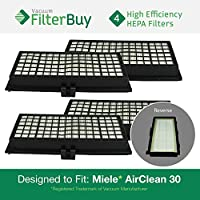 4 - Miele Active AirClean 30 HEPA Filters, Part # AAC30 & SFAA30. Designed by FilterBuy to fit Miele models S7000-S7999, S2000-S2999, S300i-S858i.