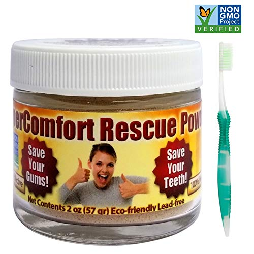 Dental Rescue Combo - SuperComfort Rescue Tooth Powder & Flossing Toothbrush - Helps Reduce Gum Recession, Helps to Remove Plaque, Helps with Gingivitis, Helps Bleeding Gums (Best Treatment For Gum Recession)