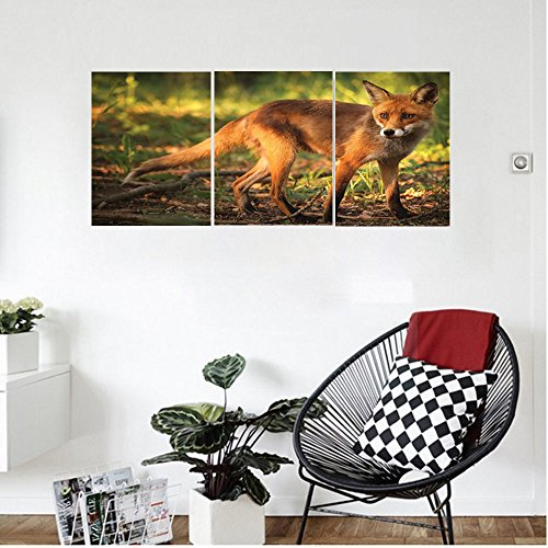 Liguo88 Custom canvas Animal Decor Little Baby Cute Fox in Wild Looking for its Prey in the Forest with Trees Photo Wall Hanging for Bedroom Living Room (Prey High Polish)