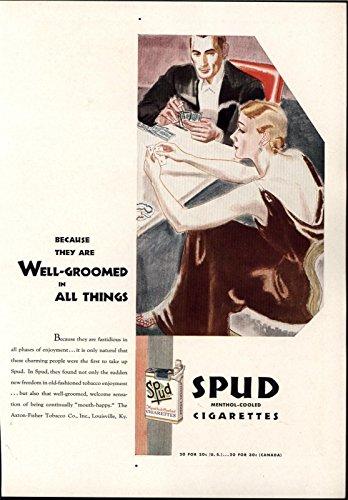 (Spud Menthol Cigarettes Beauty Cards 1931 vintage color advertisement print)