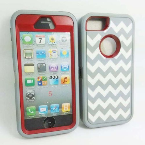 Allmet TM DELUXE Chevron Wave Hybrid Rubber Silicone Cover Case For iPhone 5 5S, Chevron Wave Print Hard Soft High Impact Hybrid Armor Case Combo for iPhone 5 5S, Hybrid 3 PIECE ZEBRA HARD PROTECT CASE COVER SKIN FOR iPhone 5 5S (Gary +Red with White Wave)