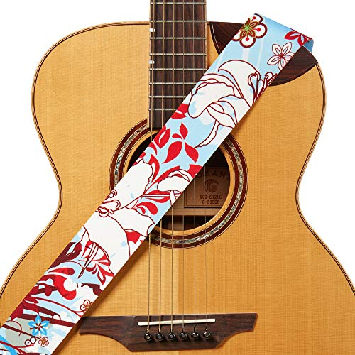 (Amumu Guitar Strap White Lily Flower Light Blue Polyester Cotton for Acoustic, Electric and Bass Guitars with Strap Blocks & Headstock Strap Tie - 2