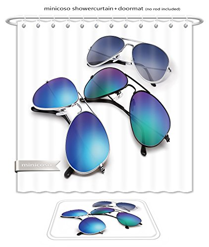 Minicoso Bath Two Piece Suit: Shower Curtains and Bath Rugs Aviator Sunglasses Isolated On White Background With Blue Mirrored Lenses Shower Curtain and Doormat - Diamond Sunglasses Versace